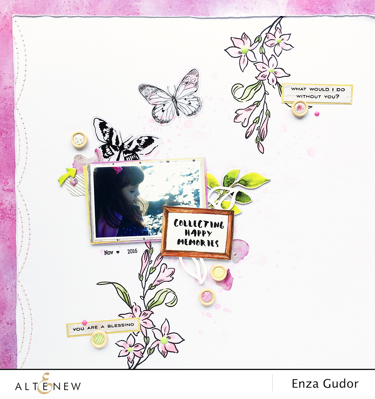 Layout using Extra Special stamp set @Altenew @enzamg #stamping #scrapbooking #layout #stencil