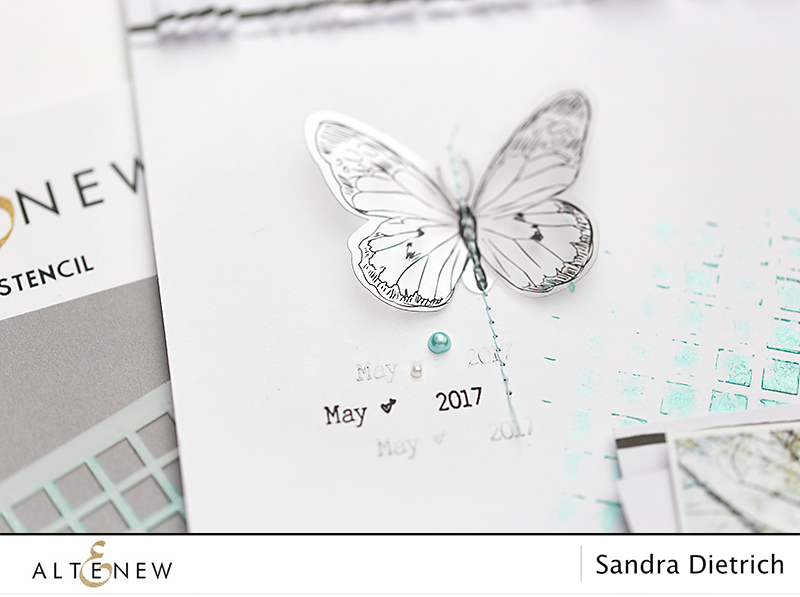 Detail scrapbook layout with butterfly. @SandraDietrich for @Altnew.