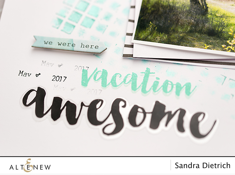 Close up layout with stencils. @SandraDietrich for @Altenew.