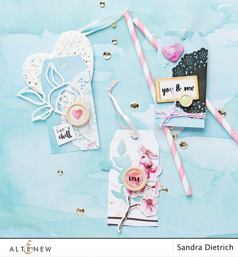Gift tags with Altenew Scrapbook Reflection Collection. By @Sandra Dietrich for @Altenew