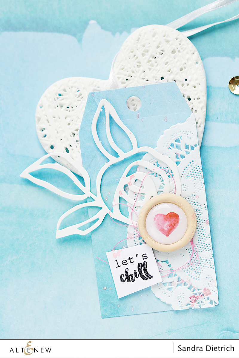 Gift tag Let's Chill with Scrapbook Reflection Collection. By @Sandra Dietrich for @Altenew