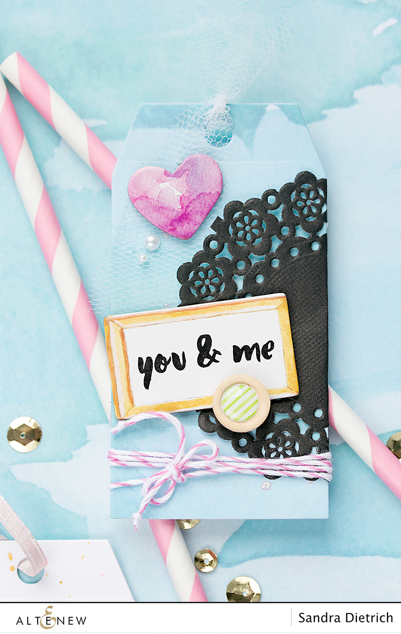 Gift tag You & Me with Scrapbook Reflection Collection. By @Sandra Dietrich for @Altenew