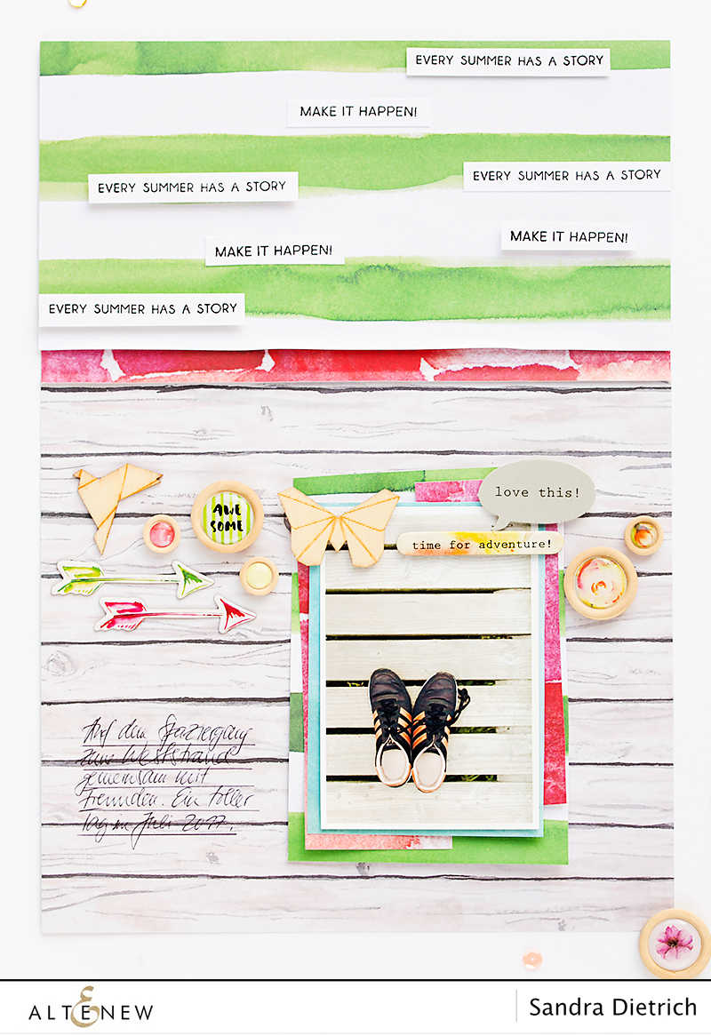 Layout with Reflection Scrapbook Kit. @SandraDietrich for @Altenew.