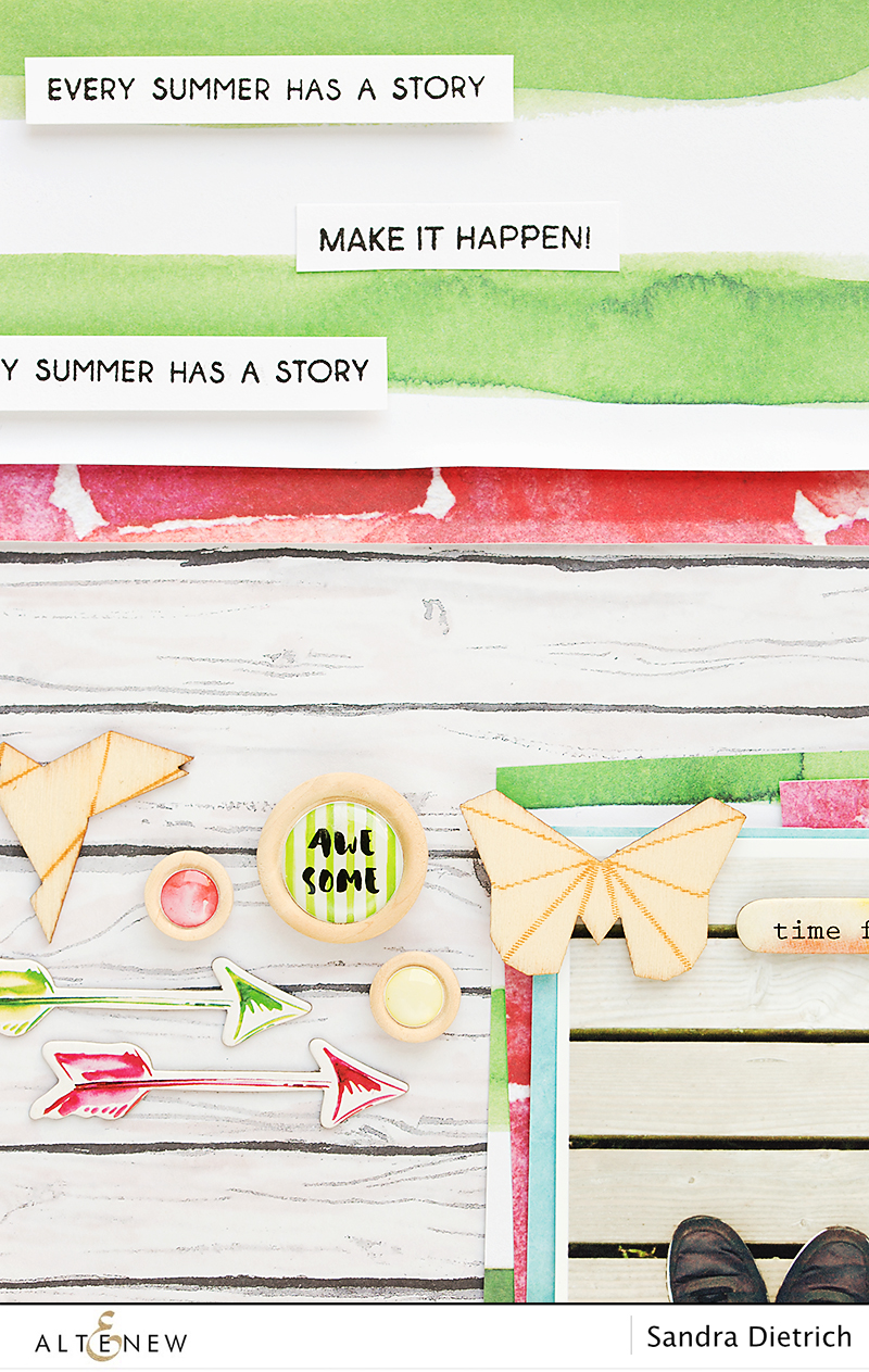 Details of layout with Reflection Scrapbook Collection. @SandraDietrich for @Altenew