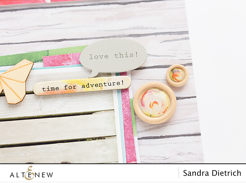Details of layout with Altenew Reflection Scrapbook Collection. @SandraDietrich for @Altenew.