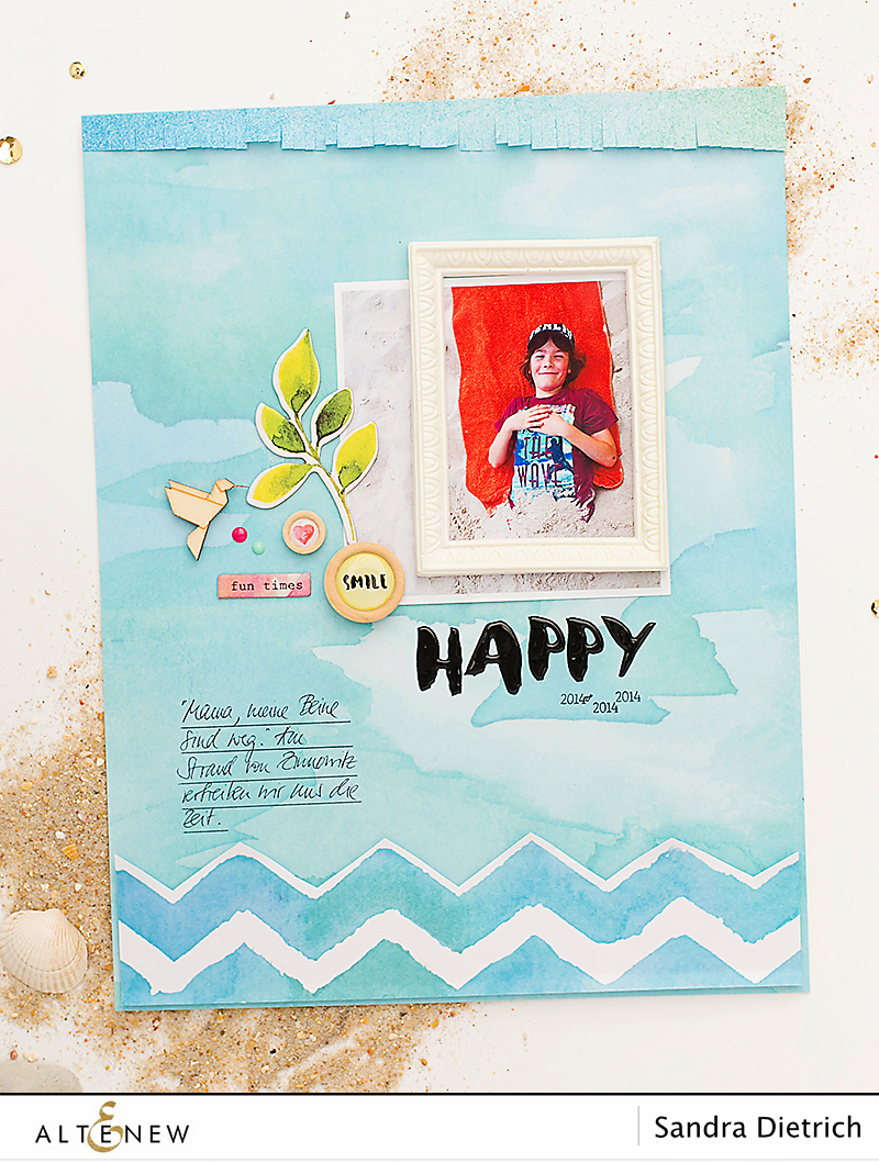 Scrapbook Layout Happy with Reflection Scrapbook Collection. By @Sandra for @Altenew