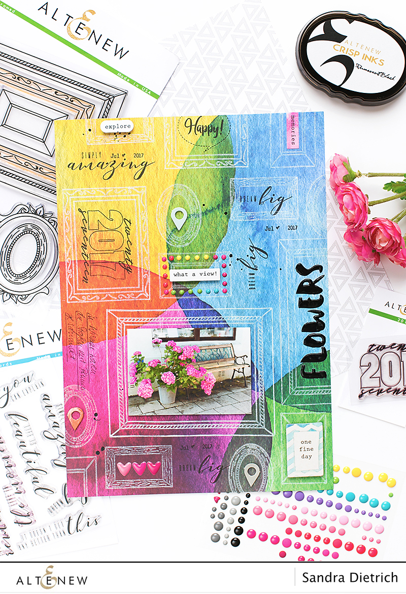 Stamp Focus Framed Scrapbook Page @SandraDietrich for @Altenew