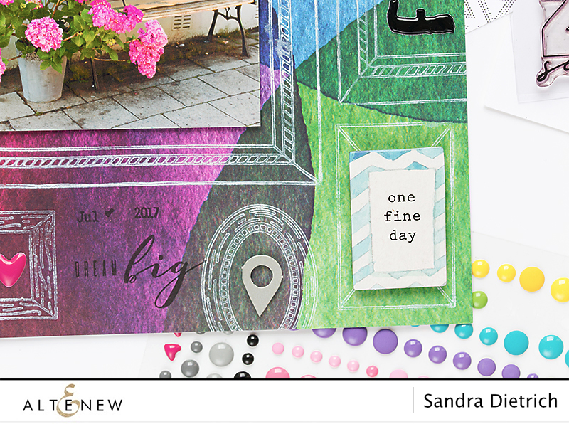 Frames Stamped on Scrapbook Page @SandraDietrich for @Altenew