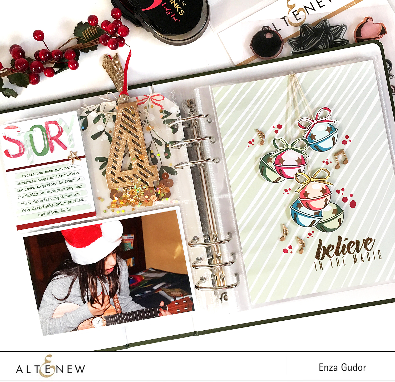 December memories with Altenew @altenew @enzamg #stamping #december #bellsandbows #brushalphadieset