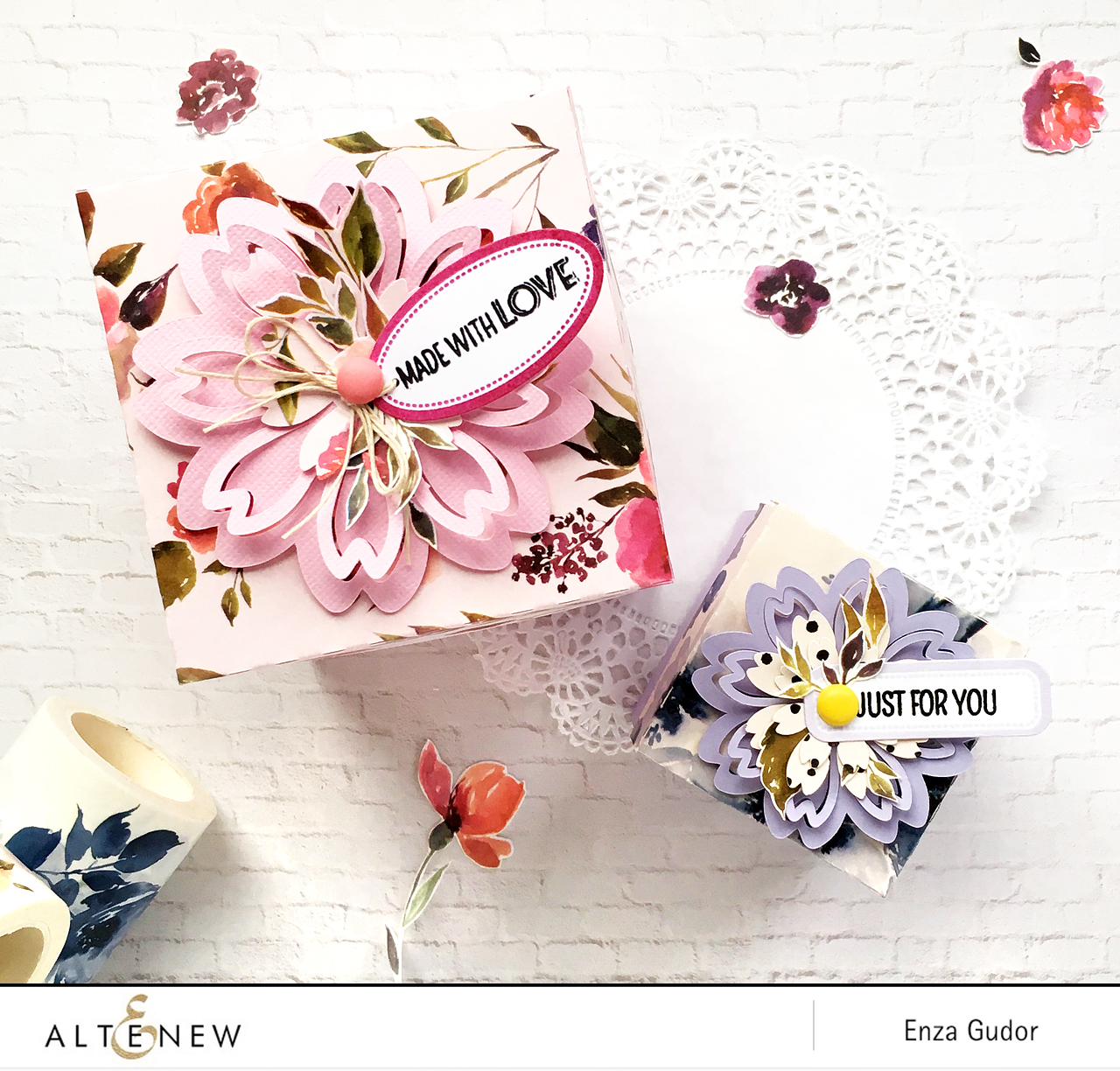 Gift boxes by @enzamg with @Altenew washi tapes #giftwrapping #giftboxes #washitape #diy