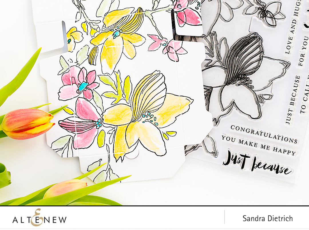 Sketchy Floral Stamp Set Treat Box @SandraDietrich for @Altenew