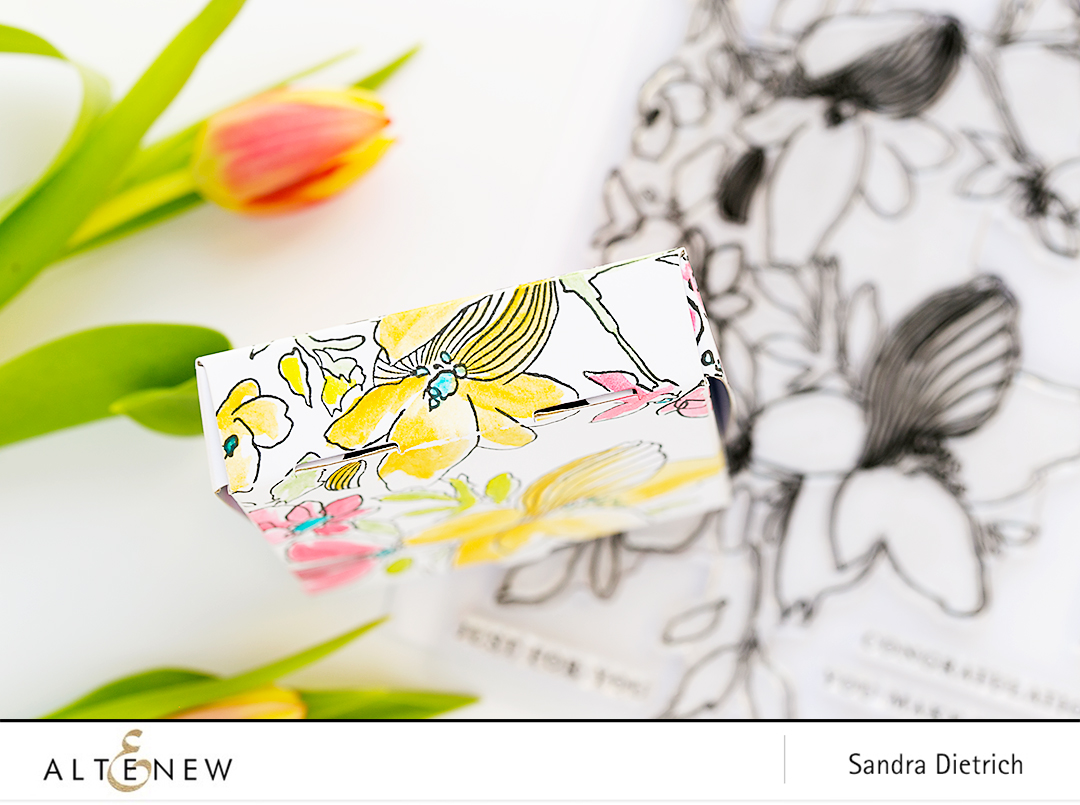 Stamped Treat Box Sketchy Floral @SandraDietrich for @Altenew