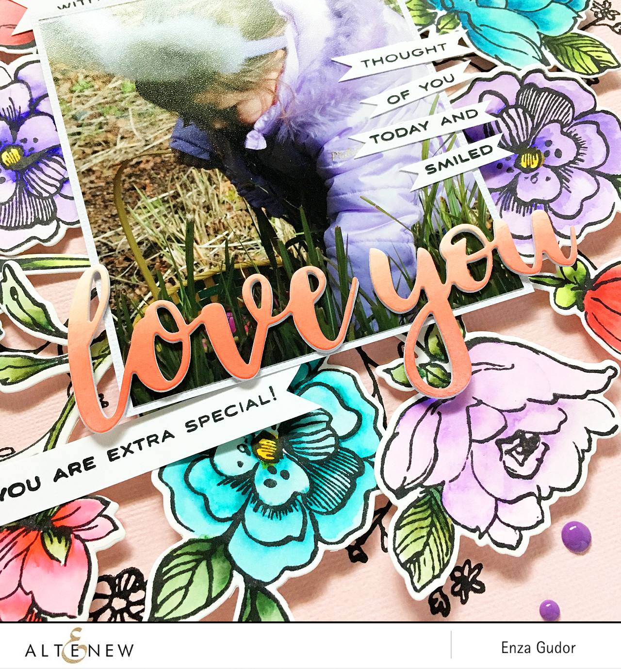 Floral layout by @enzamg for @Altenew using the Botanical Garden Stamp Set.