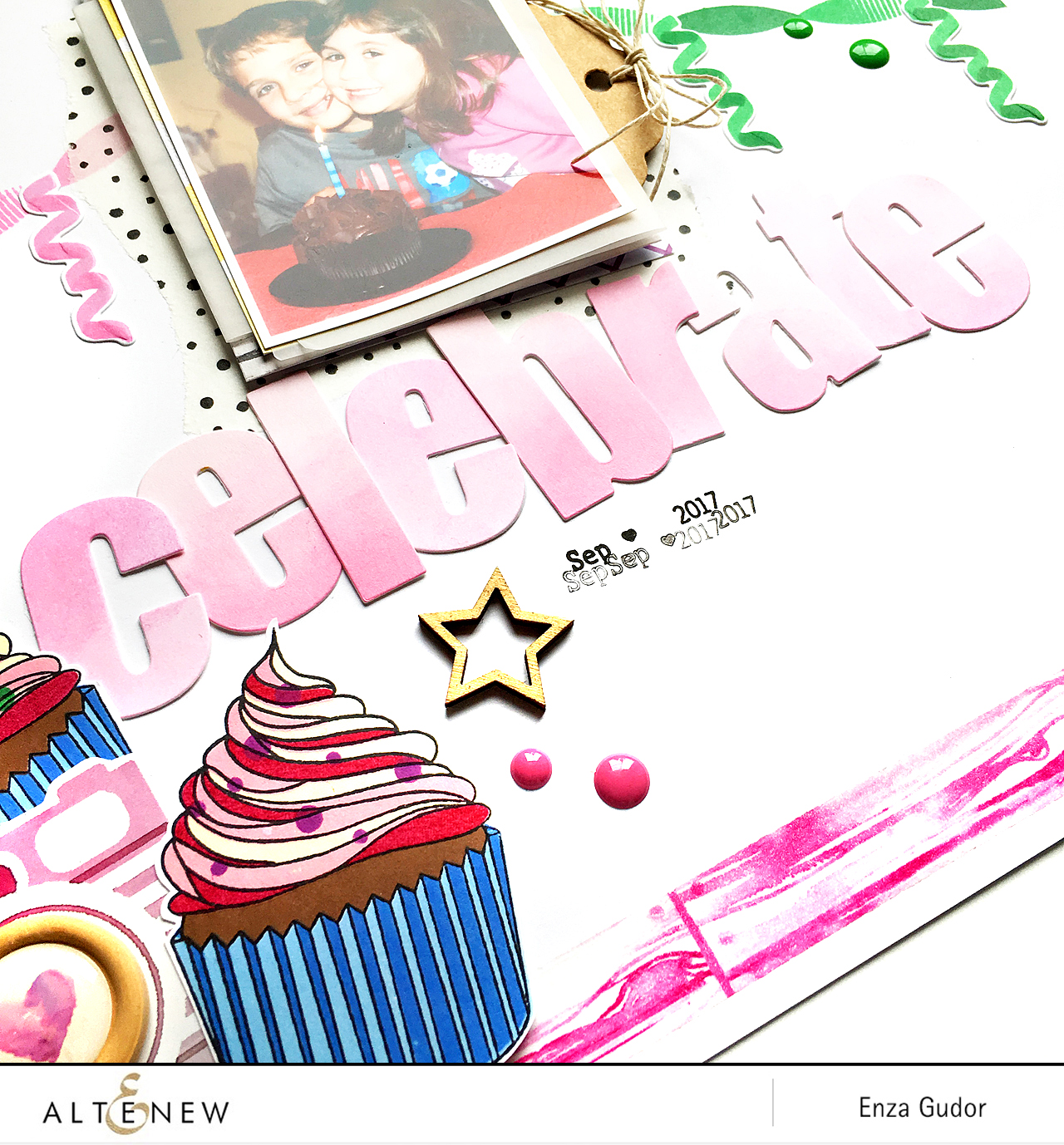 Festive Layout by @enzamg for @Altenew with #PartyTime and #LayeredCupcake stamp sets.