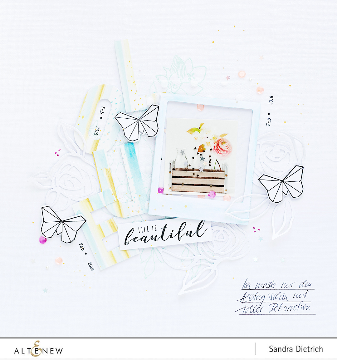 Washi-Tape Title on a Scrapbook Layout @SandraDietrich for @Altenew