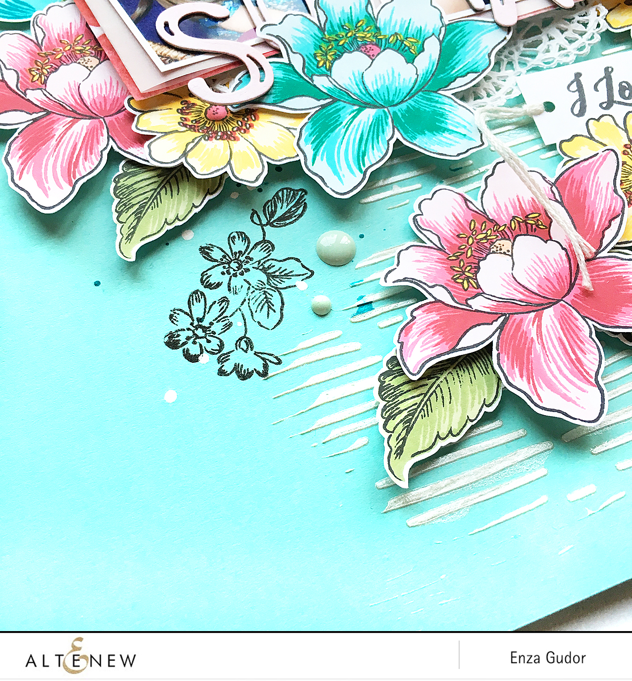 Scrapbook layout by @enzamg for @altenew using Garden Treasure stamp set. #altenew #floral #scrapbooking #stamping
