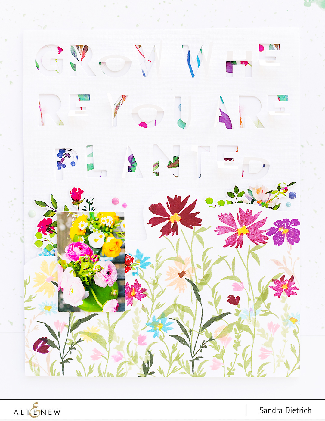 Flowery Scrapbook Layout Wildflower Garden @SandraDietrich for @Altenew