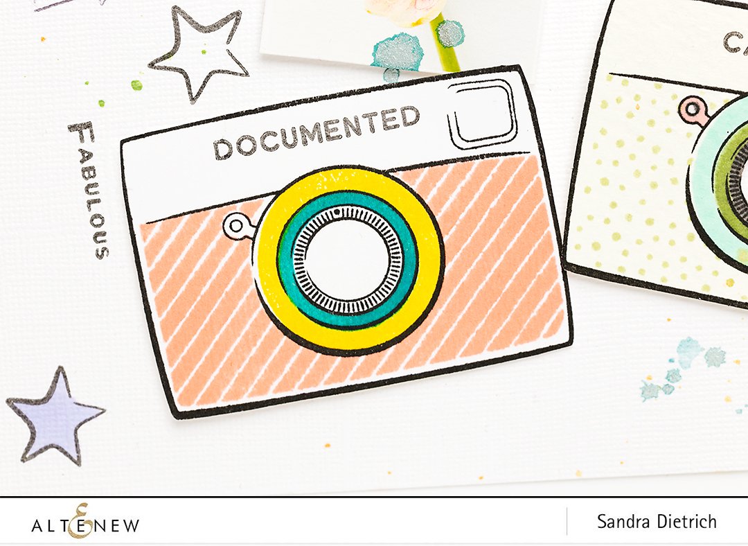 Scrapbook Layout Stamped Camera @SandraDietrich for @Altenew