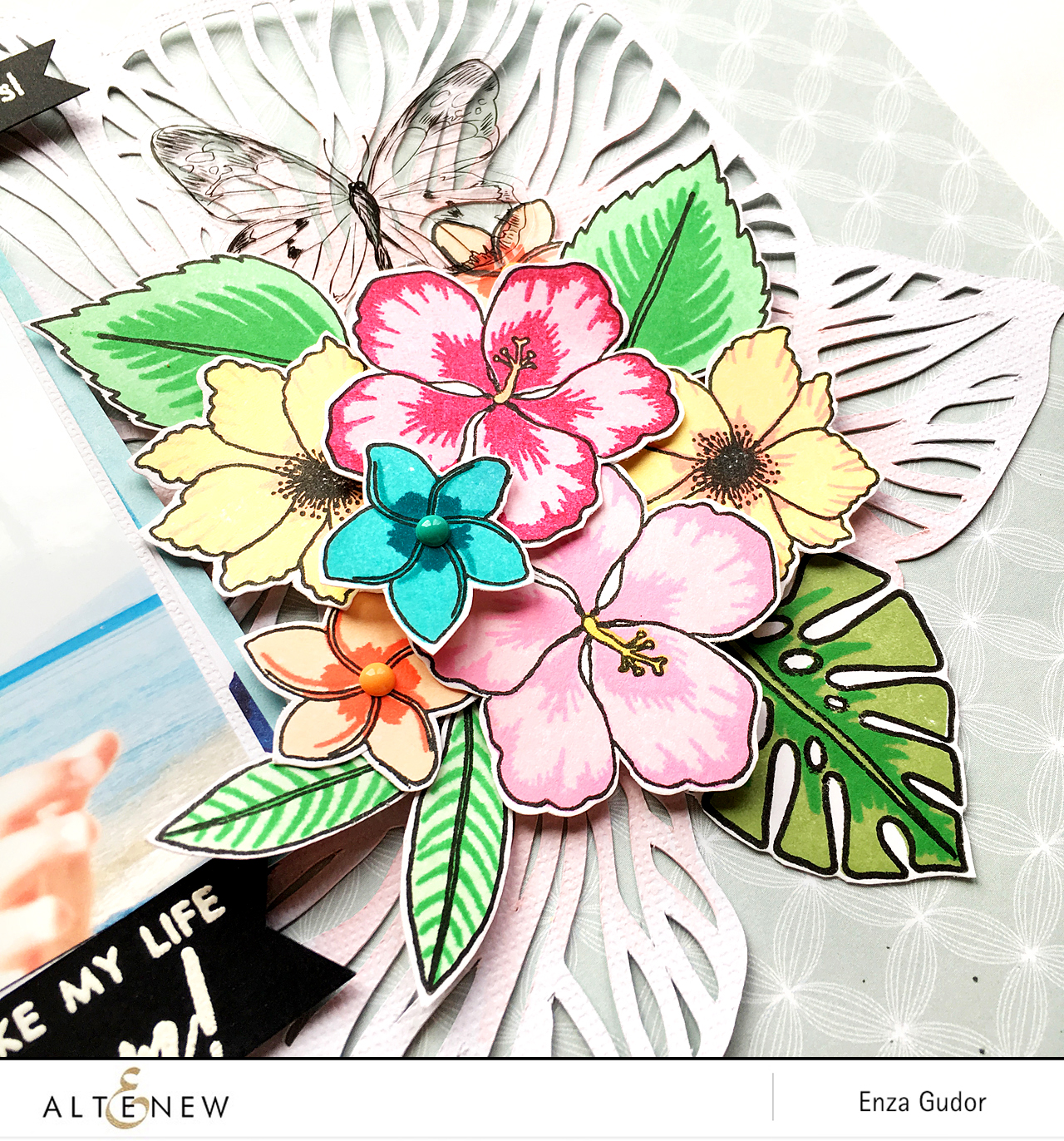 Tropical layout by @enzamg for @Altenew using the Totally Tropical and Parrot Paradise Stamp Sets. #Altenew #stamping #scrapbooking #tropical #flowers