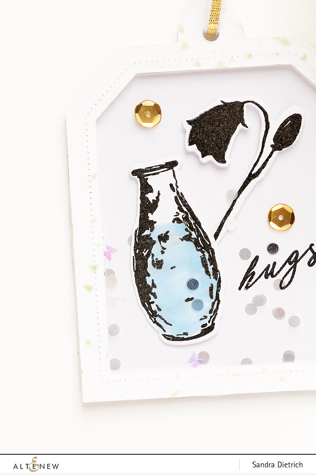 Shaker tag with Garden Silhouette Stamp Set @SandraDietrich for Altenew