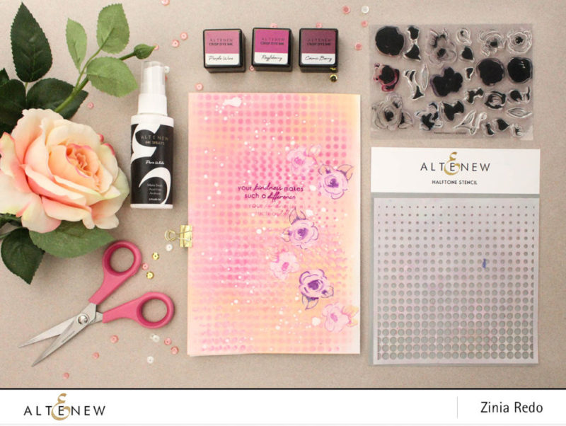 Creating an art journal page with Painted Flowers @ziniaredo #art #artjournaling #altenew #mixedmedia