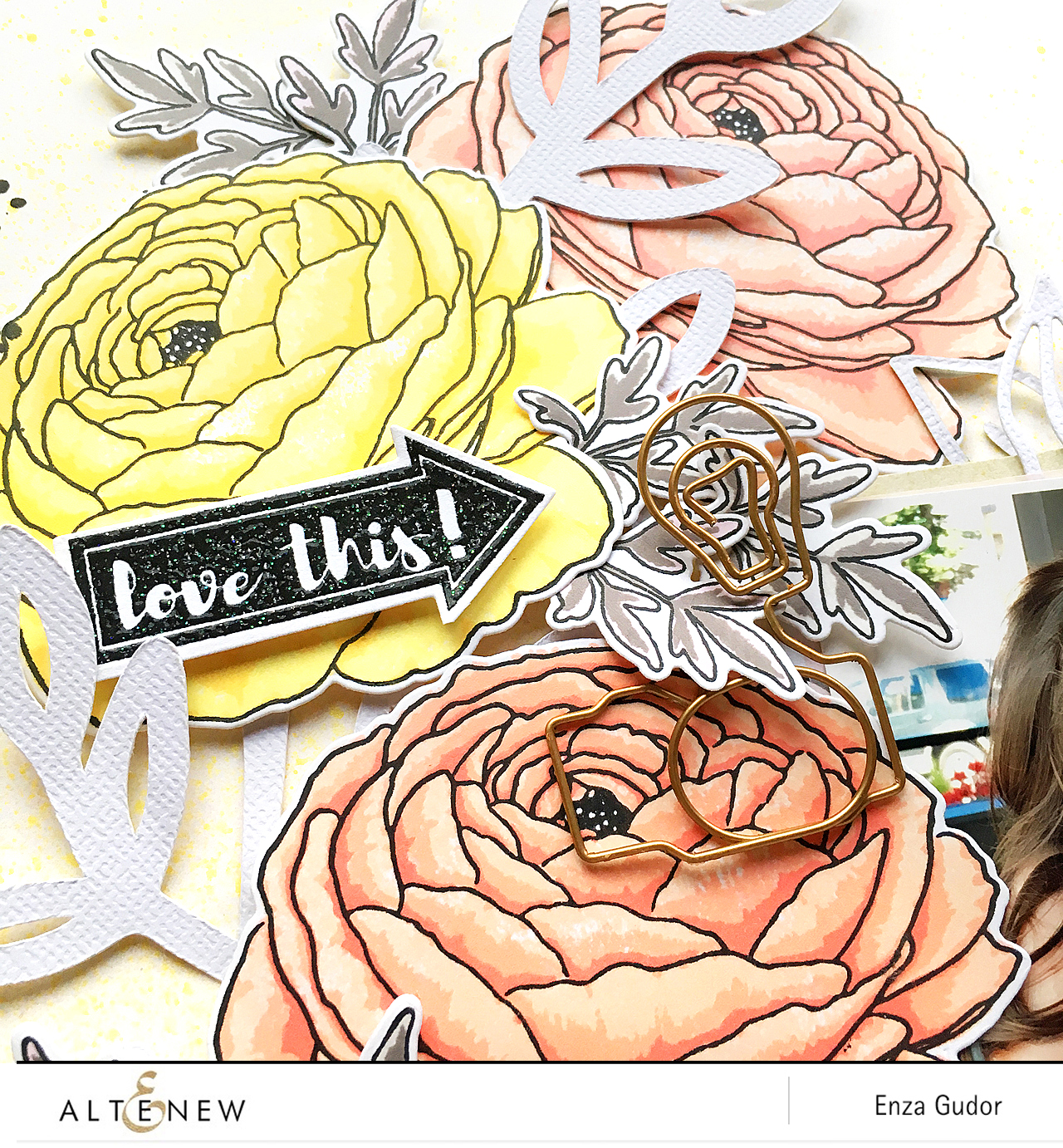 Flower layout by @enzamg for @Altenew using the Build-A-Flower: Ranunculus Stamp Set. #scrapbooking #ranunculus #papercrafting #stamping