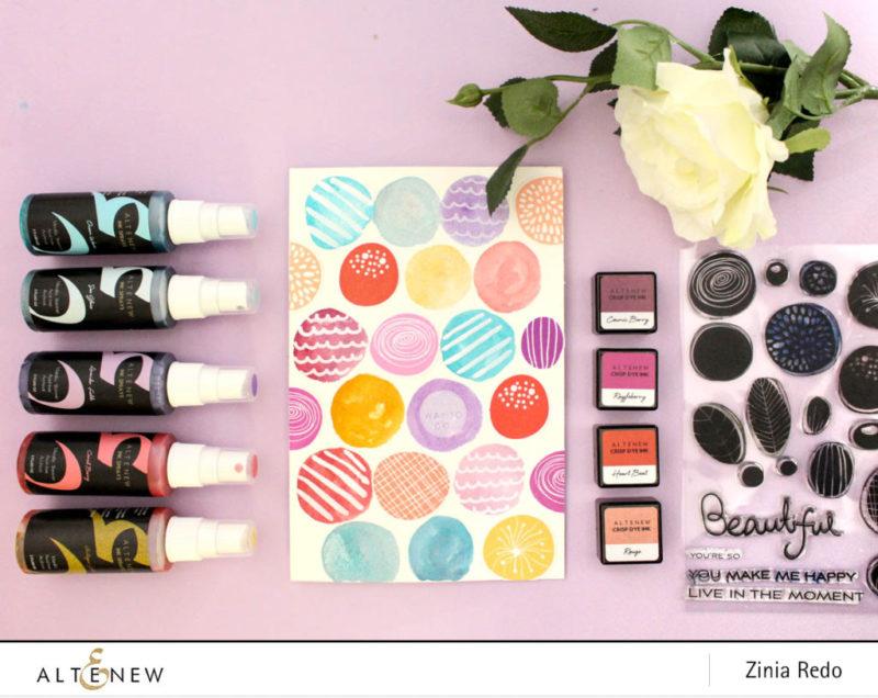 Dot Pattern Art Journal page using Simple Flowers Stamp Set. @ziniaredo @altenewllc #ziniaredo #altenew #artjournal #artjournaling #altenewsimpleflowers #mixedmedia