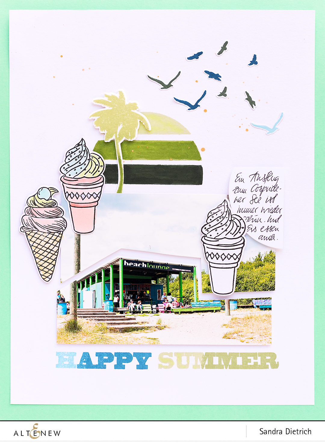 Summer Swirls Stamp Set on Scrapbook Layout @SandraDietrich for @Altenew