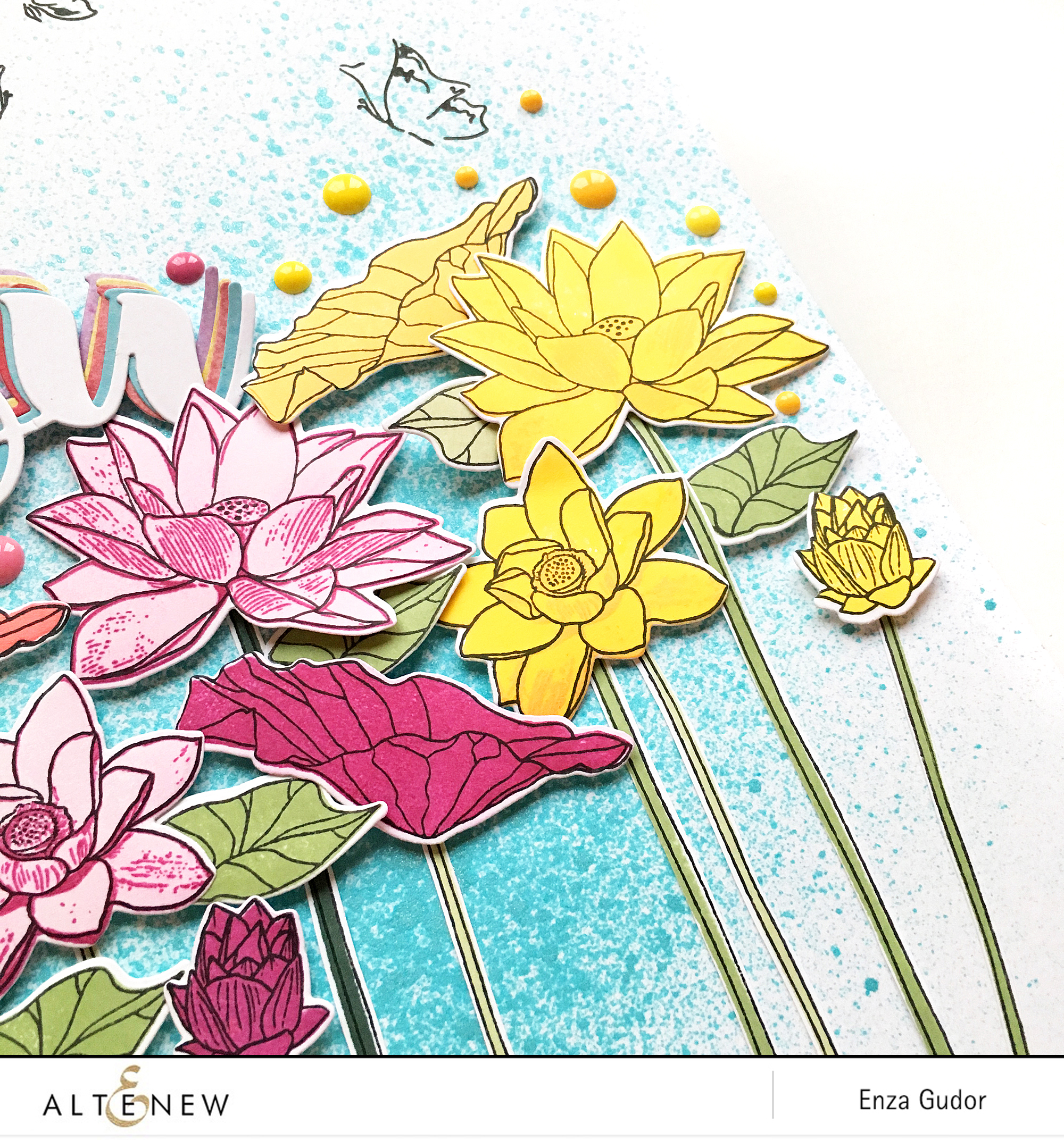 Rainbow flowers layout by @enzamg for @altenew. #scrapbooking #layout #stamping #flowers #altenew