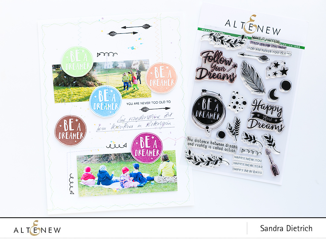 Heat-embossing on a scrapbook layout @SandraDietrich for @Altenew