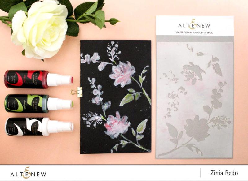 Art Journaling On Black Cardstock with Altenew Ink Sprays @altenewllc @ziniaredo #altenew #ziniaredo #mixedmedia #artjournaling #art #artjournal