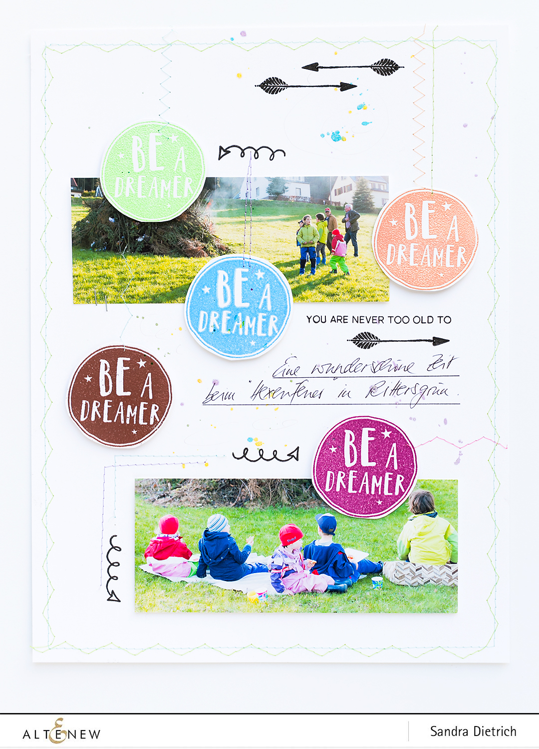 Heat-embossing scrapbook layout @SandraDietrich for @Altenew