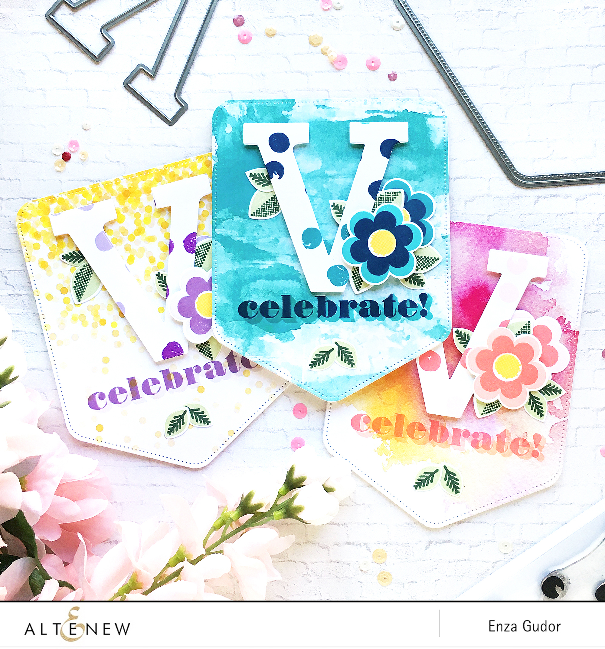 Birthday Party Invitations by @enzamg for @altenew. #altenew #stamping #birthday #diecutting #diy #partyinvites
