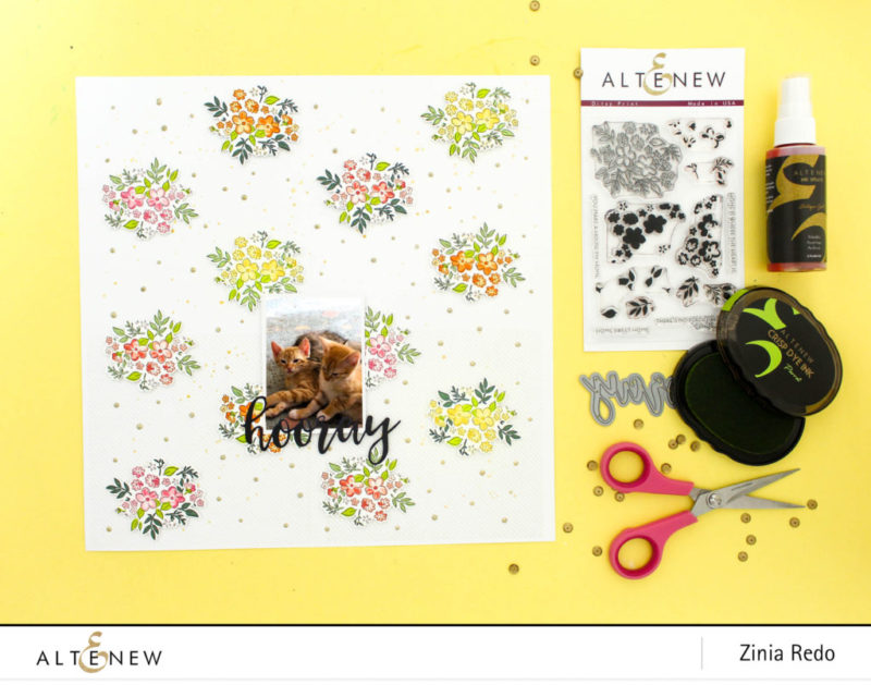 Pattern Building with Ditsy Print @altenewllc @ziniaredo #altenew #scrapbook #scrapbooking #stamping