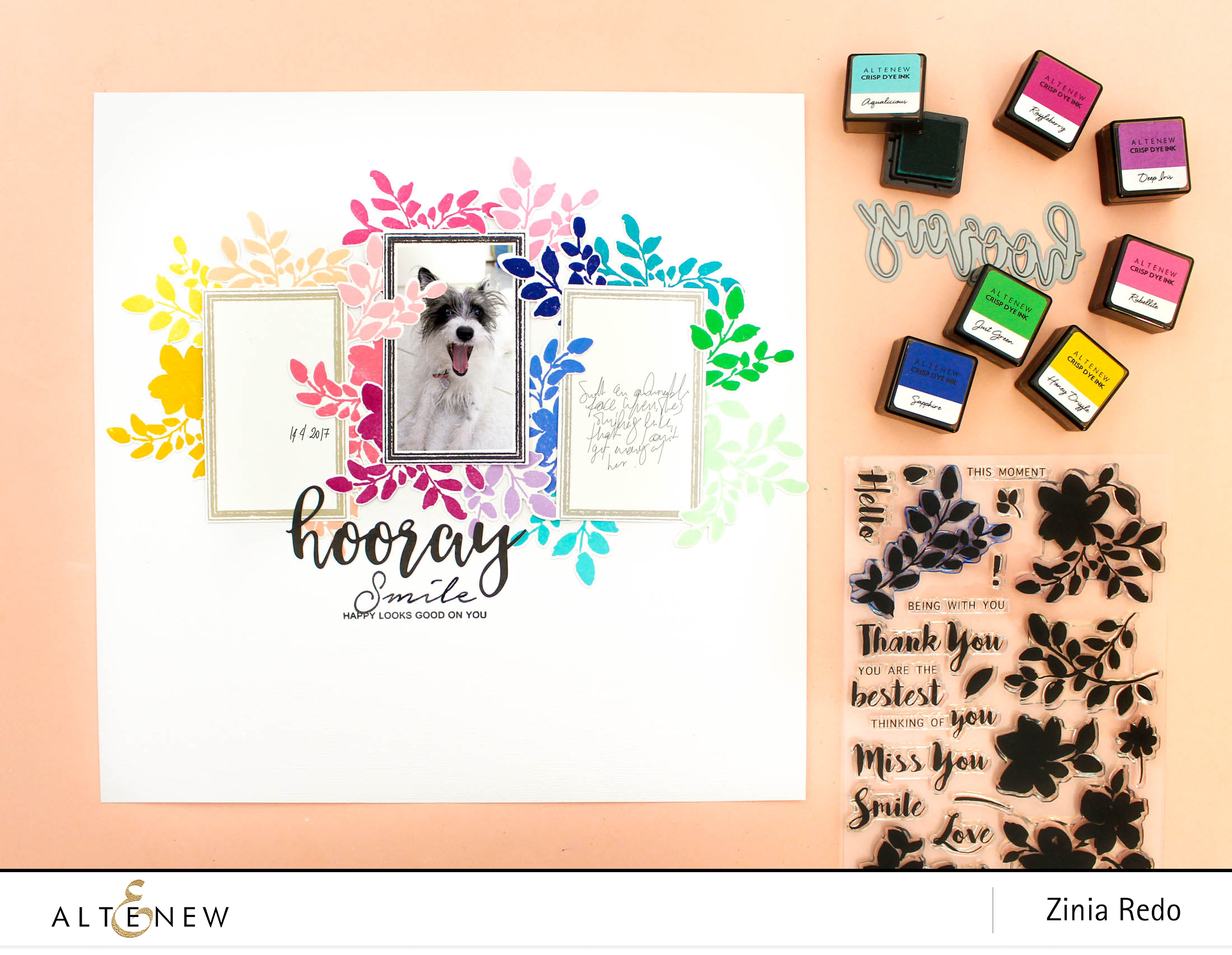 Video: Rainbow Floral Frames Layout @altenewllc @ziniaredo #altenew #ziniaredo #scrapbooking #scrapbook #stamping