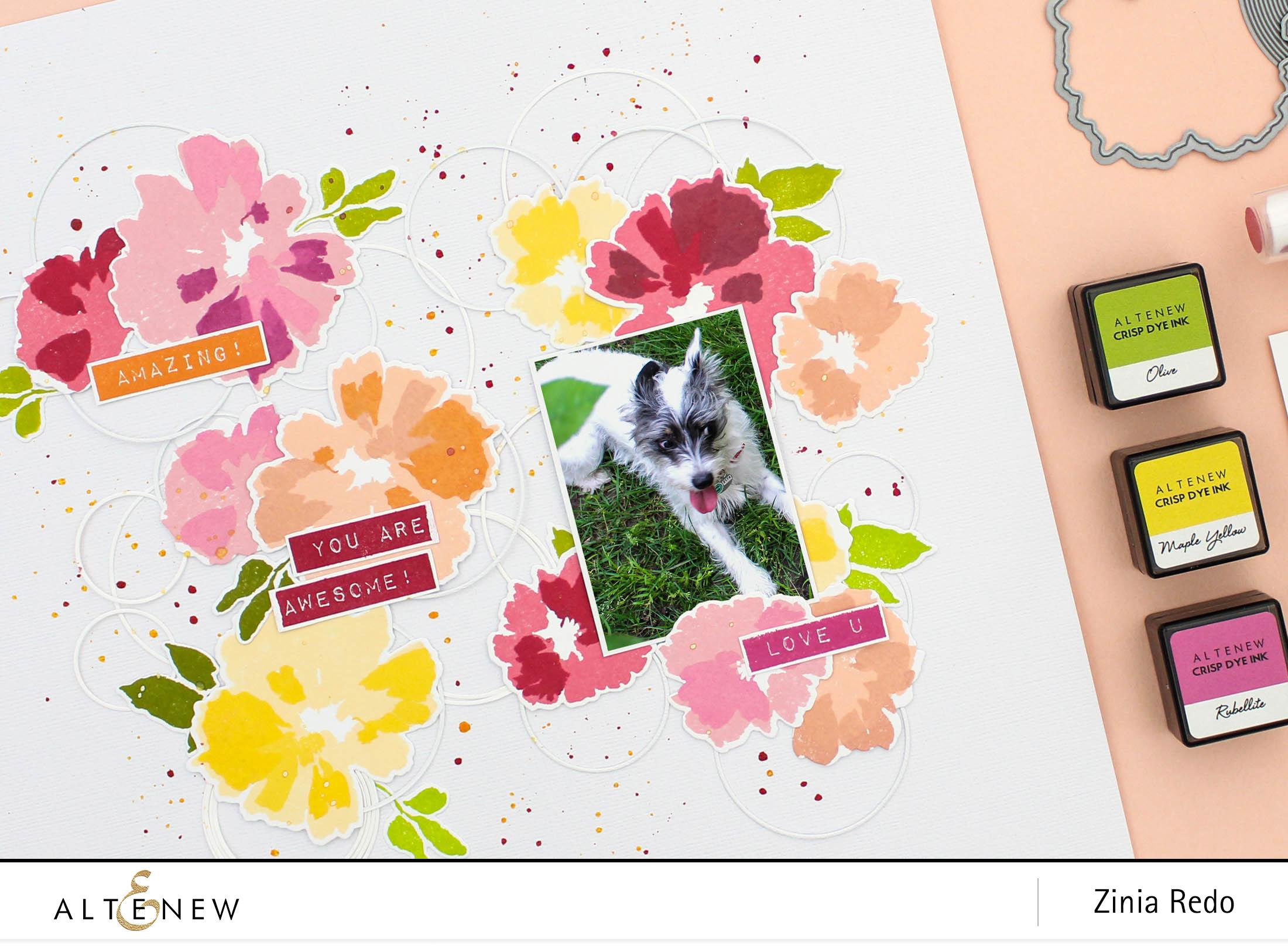 Watercolor Wonders Scrapbook Layout @altenewllc @ziniaredo #ziniaredo #altenew #altenewwatercolorwonders #stamp #stamping #scrapbook #scrapbooking #scrapbooklayout