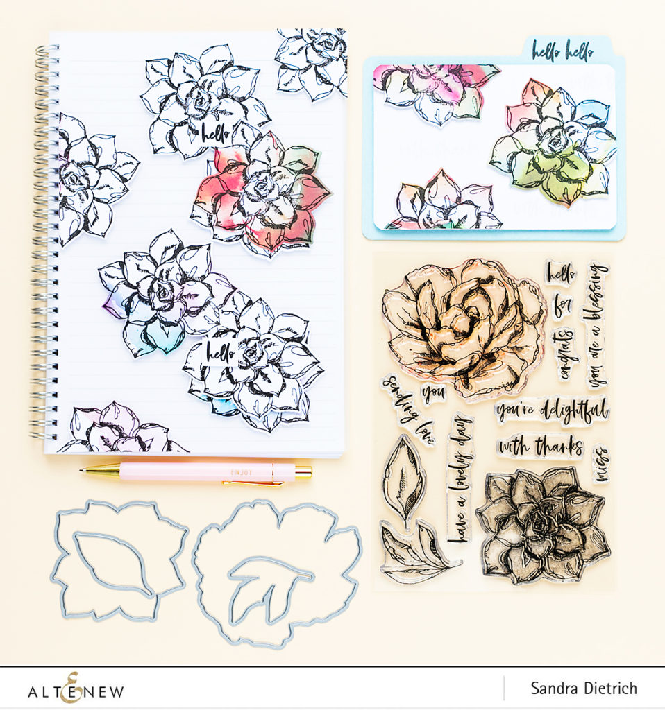 Easy DIY Inked Flora Stamp and Die Set @SandraDietrich for @Altenew