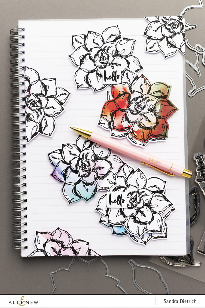 Decorated Notebook with Inked Flora @SandraDietrich for @Altenew