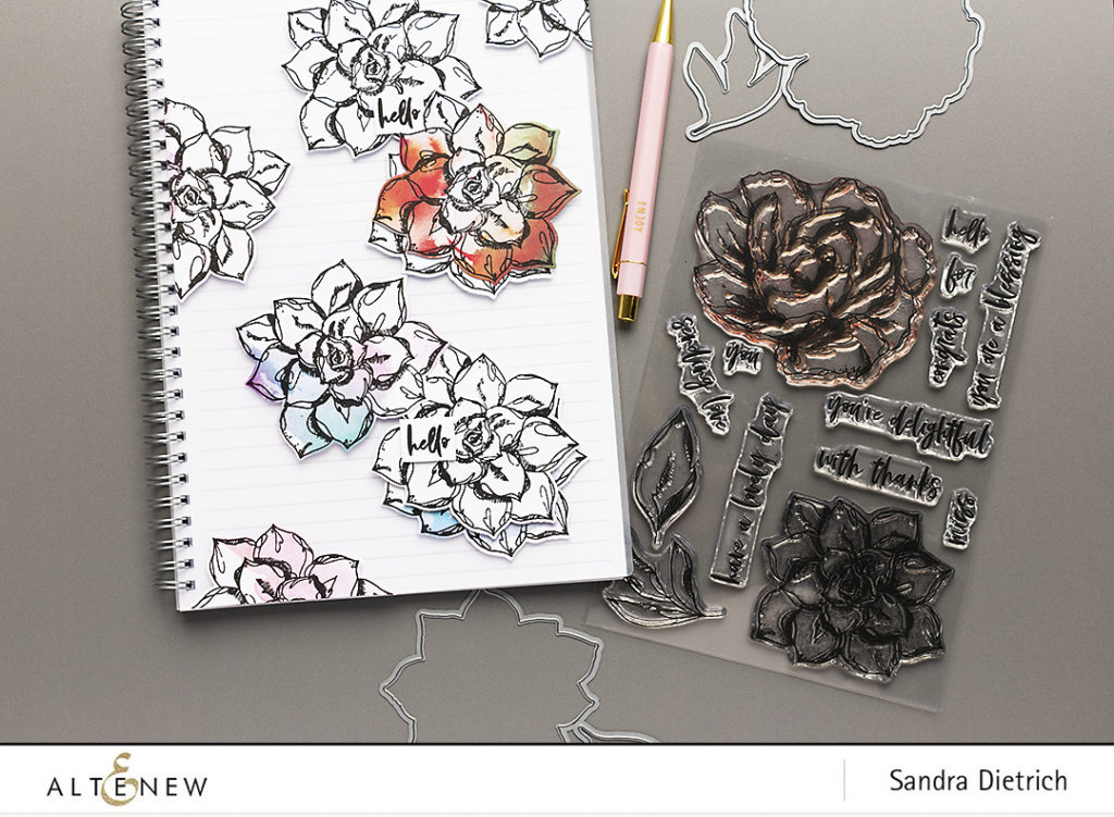 Inked flora used to decorate Notebook @SandraDietrich for @Altenew
