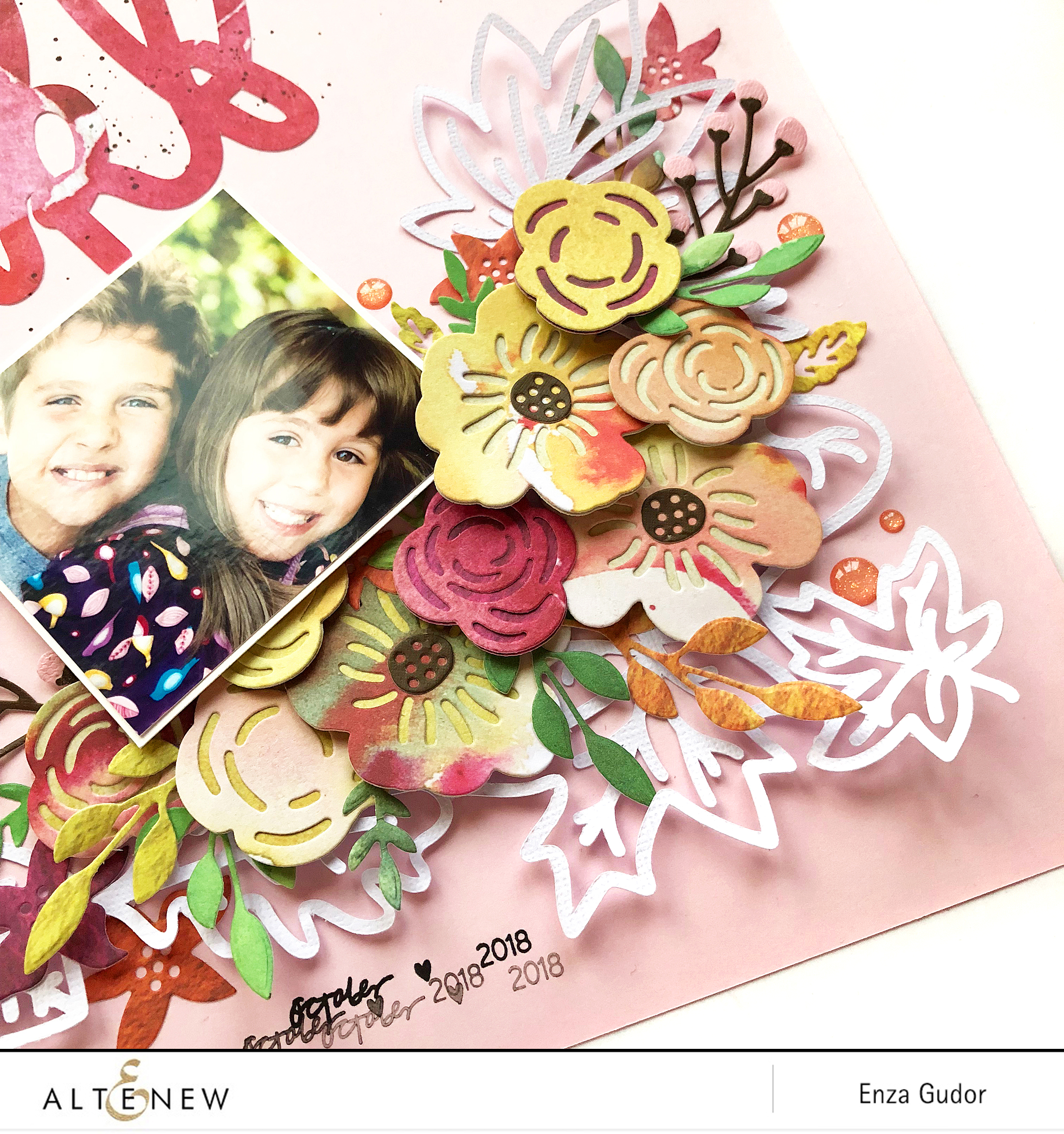 Layout by @enzamg for @altenew using the Layered Floral Elements Die set. #altenew #diecutting #scrapbooking