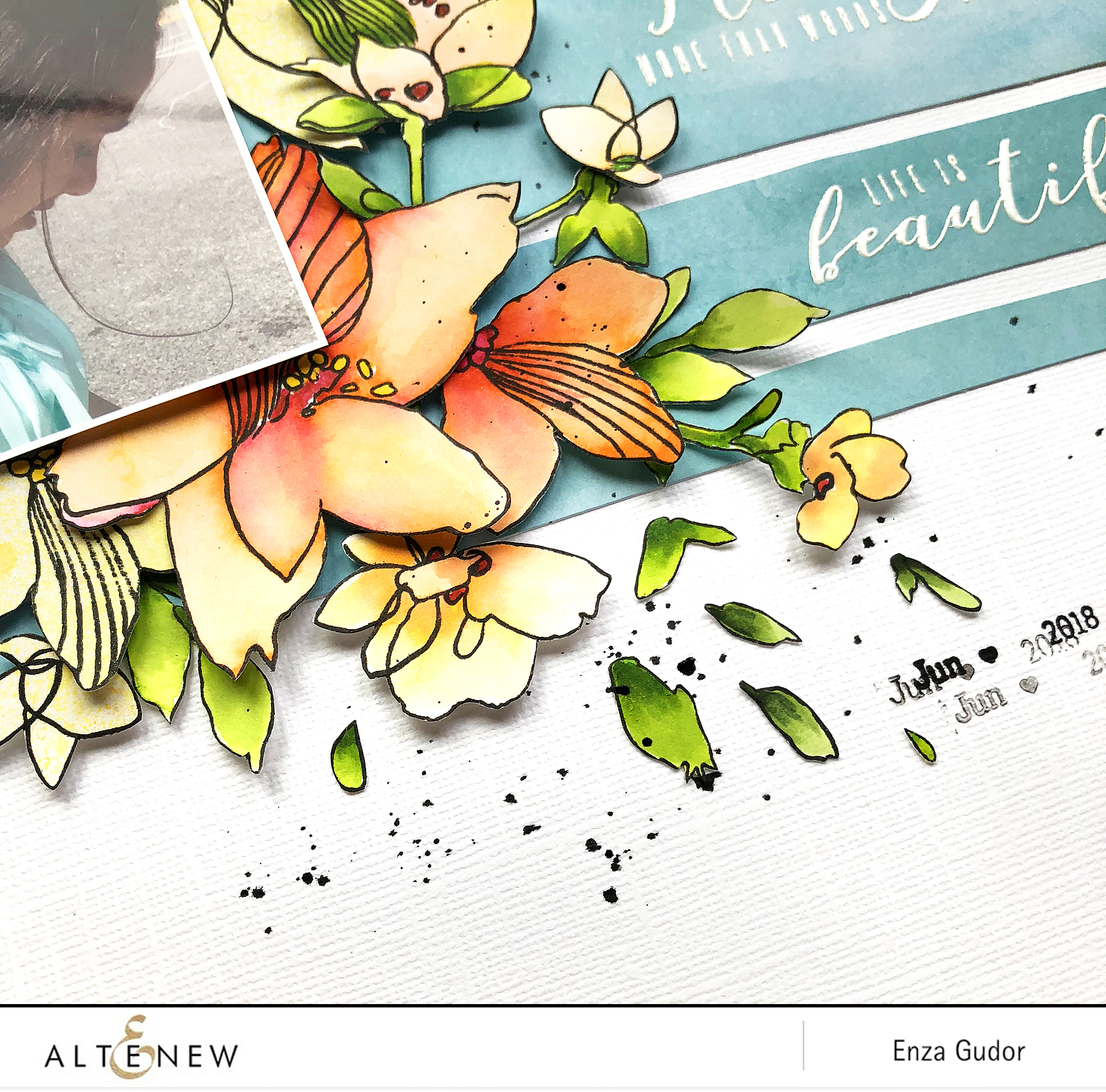 Floral layout by @enzamg for @Altenew using Sketchy Floral Stamp Set. #mixedmedia #altenew #stamping #sketchyfloral #scrapbooking