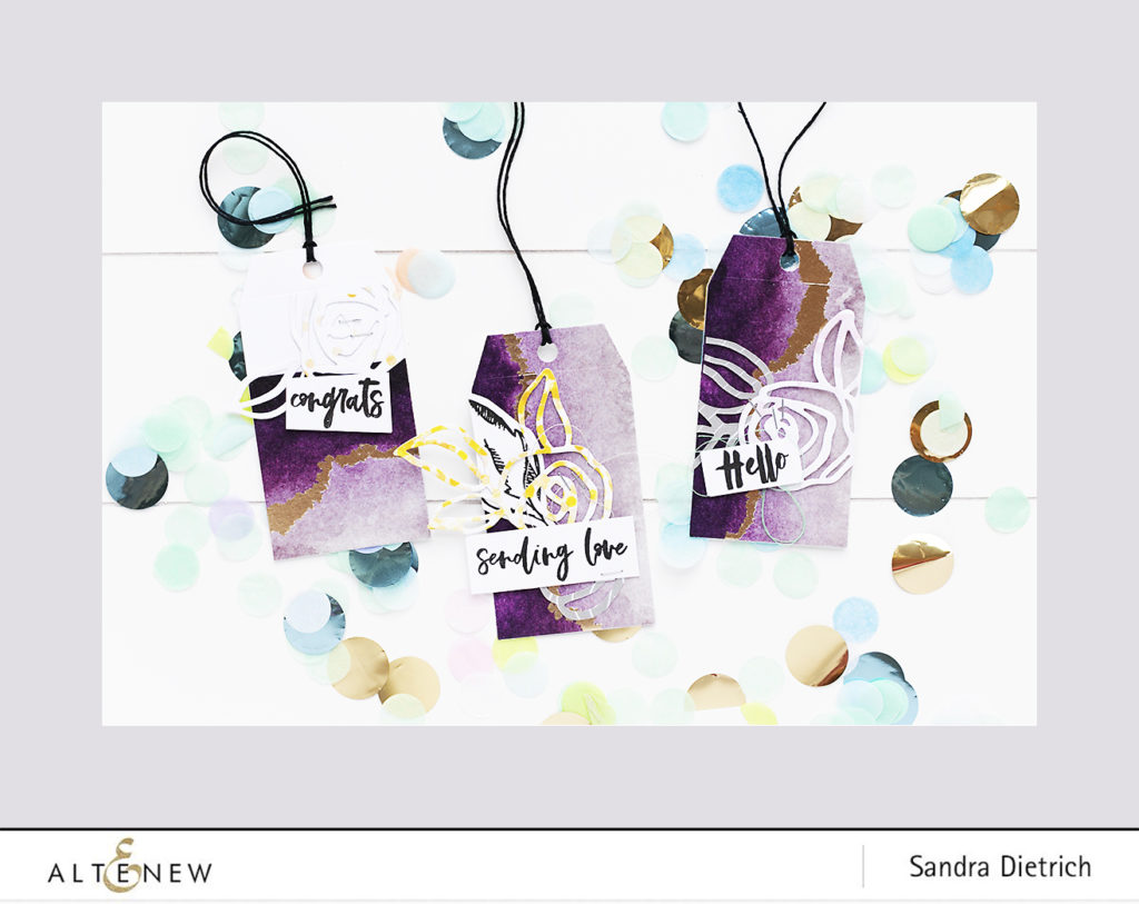 Three gift tags with washi tape background @SandraDietrich for @Altenew