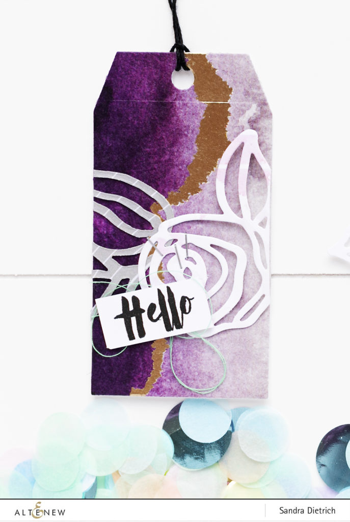 Gift Tag Hello with washi tape background @SandraDietrich for @Altenew