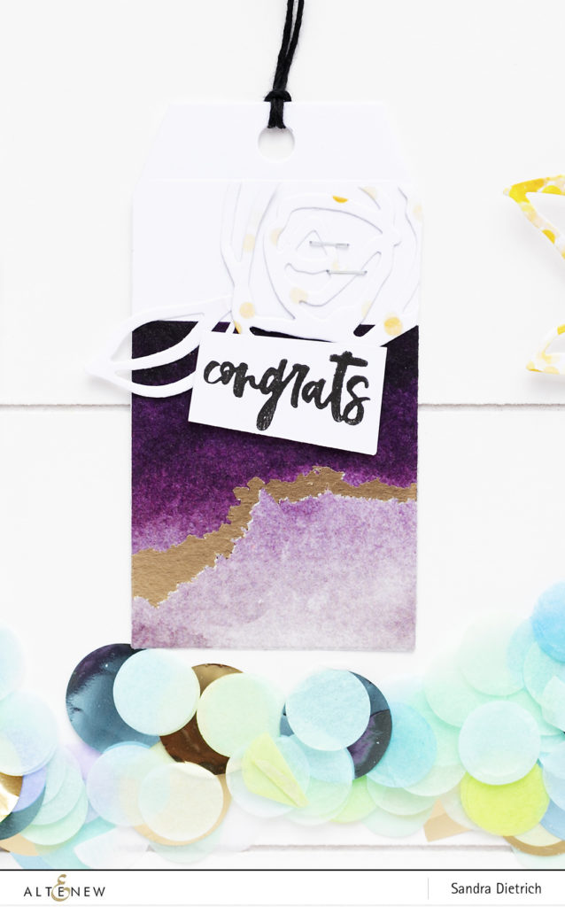 Gift Tag Congrats with washi tape background @SandraDietrich for @Altenew