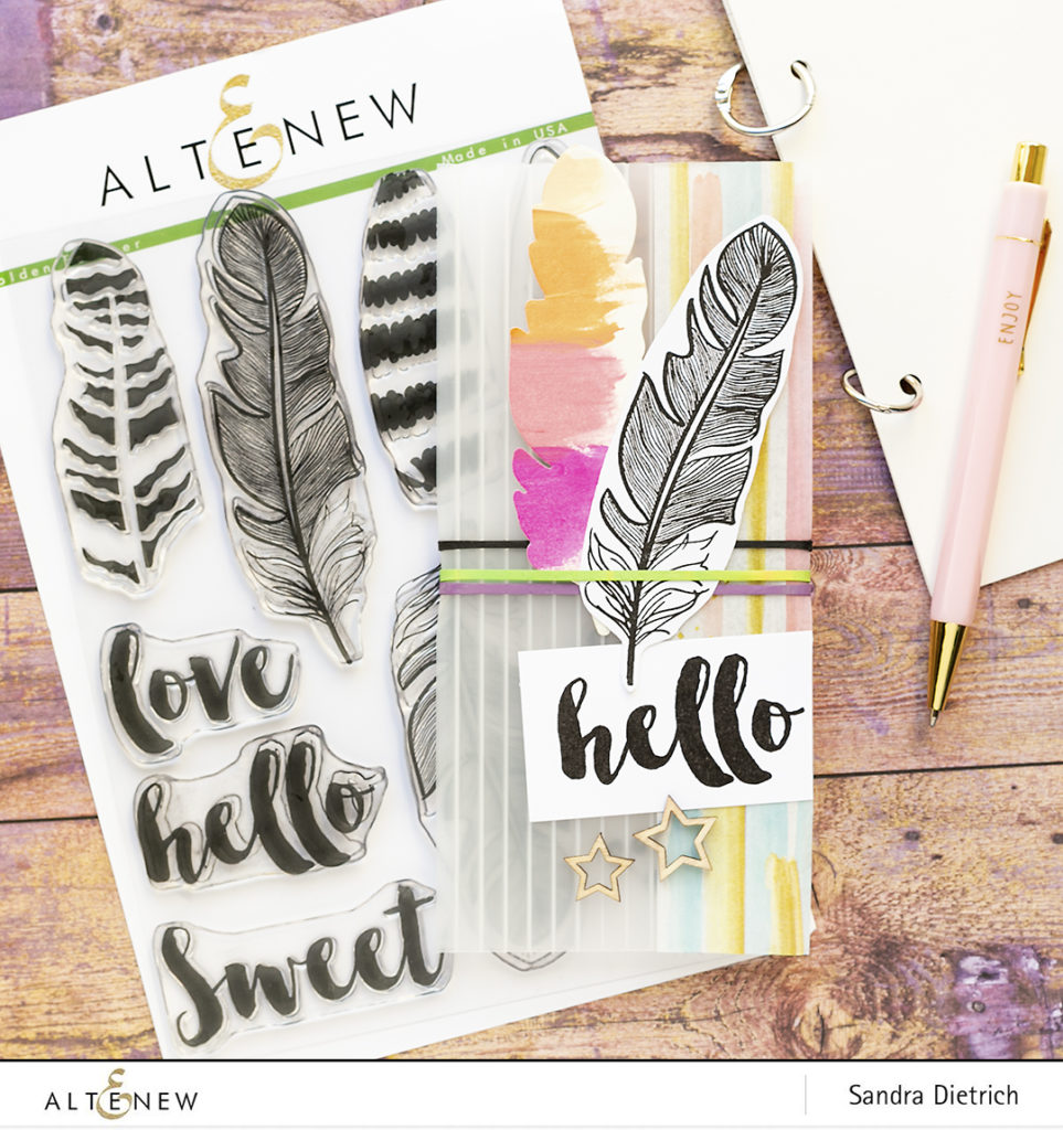 upcycled DIY notebook cover with golden feather stamp set @SandraDietrich for @Altenew