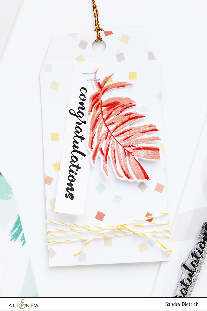 Gift Tag 'congratulations' with Wild Ferns Stamp and Die Bundle @SandraDietrich for @Altenew