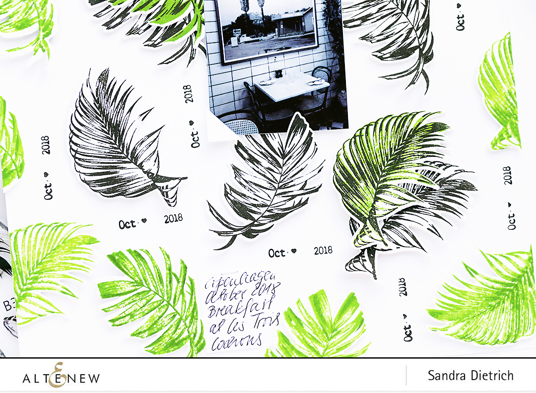 Scrapbook layout close-up with Wild Ferns Stamp and Die Bundle @SandraDietrich for @Altenew