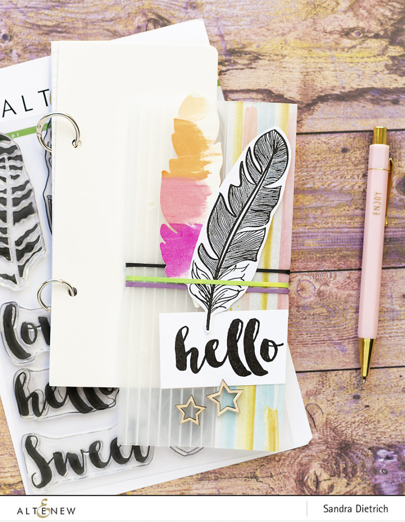 DIY Notebook Cover with Golden Feather Stamp Set @SandraDietrich for @Altenew