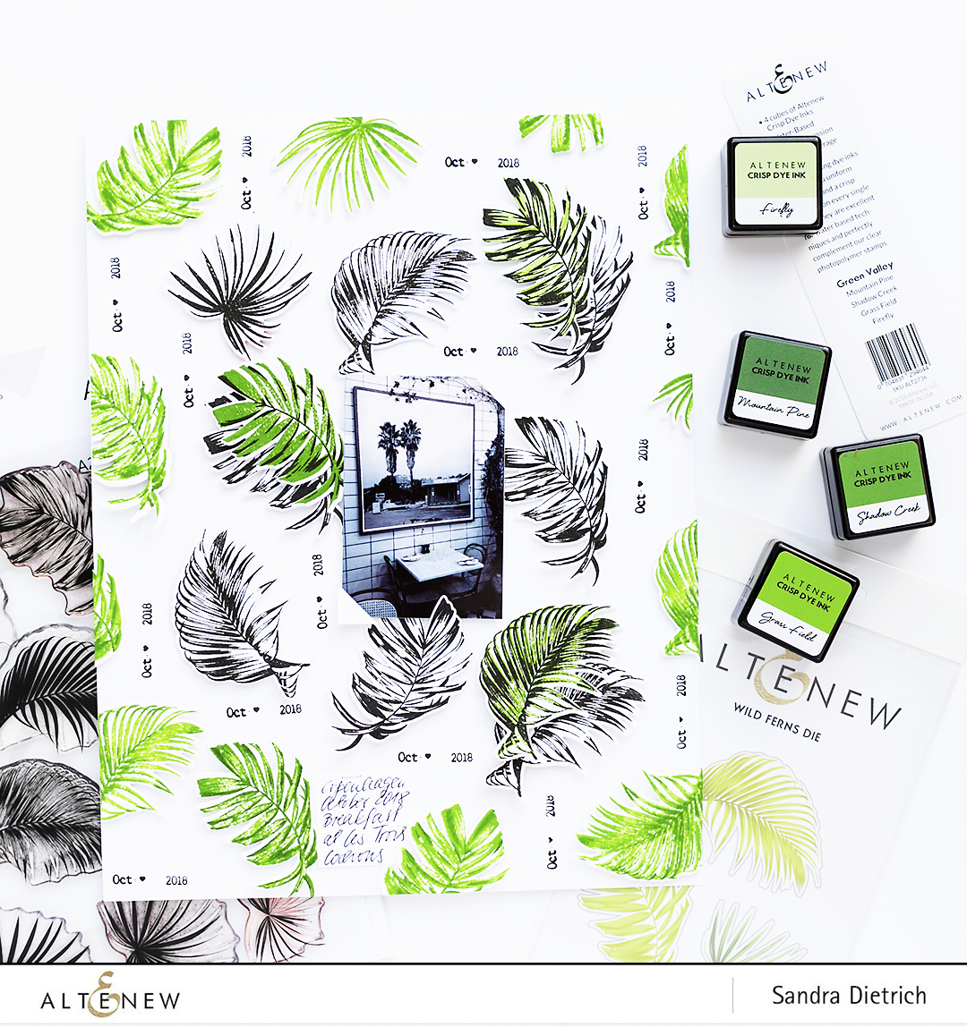 Scrapbook layout with stamp pads Green Valley and Wild Ferns Stamp and Die Bundle @SandraDietrich for @Altenew