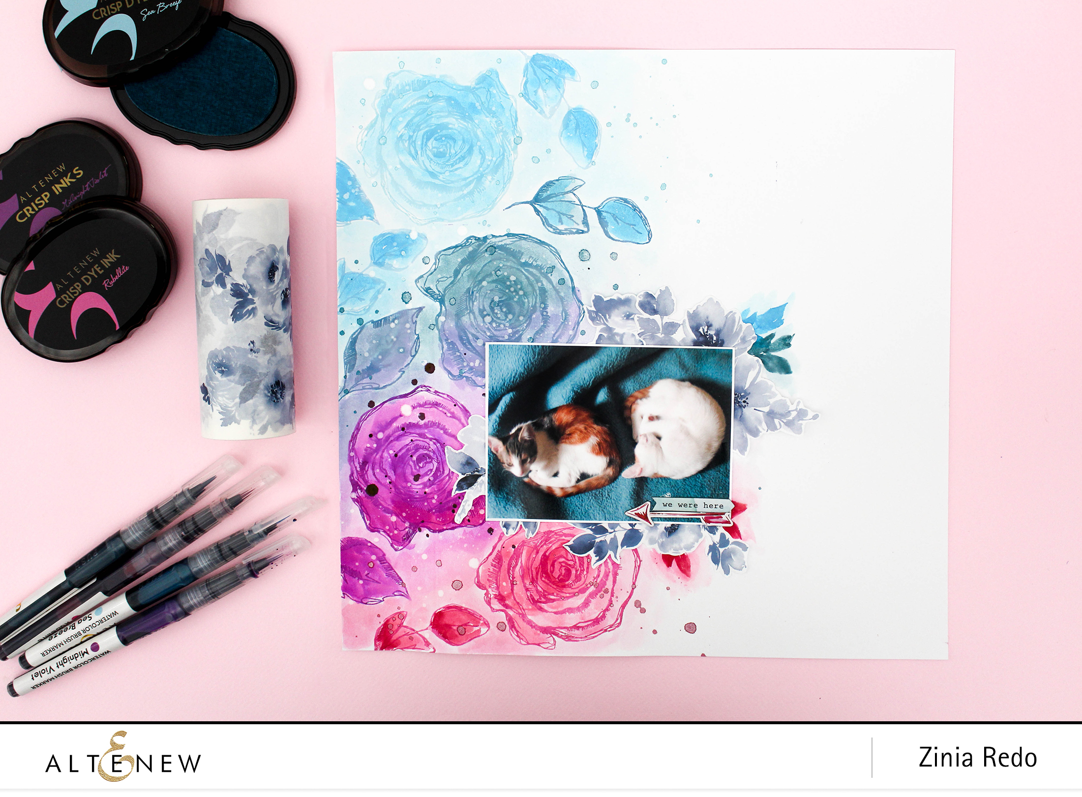 Watercolor Inked Rose Background @altenewllc @ziniaredo #ziniaredo #altenew